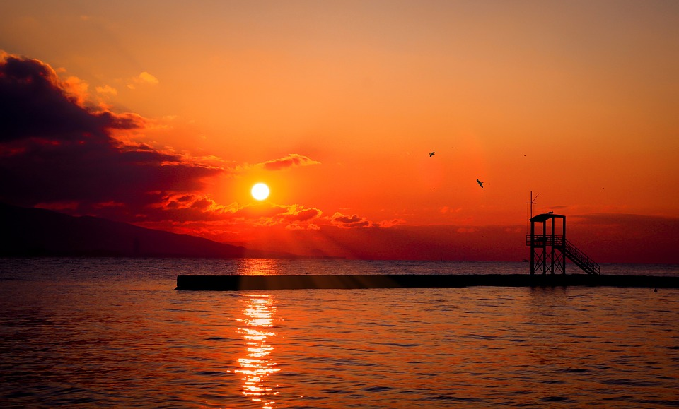 Sun, Sunset, Red, Summer, Nature, Sky, Ocean, Sea