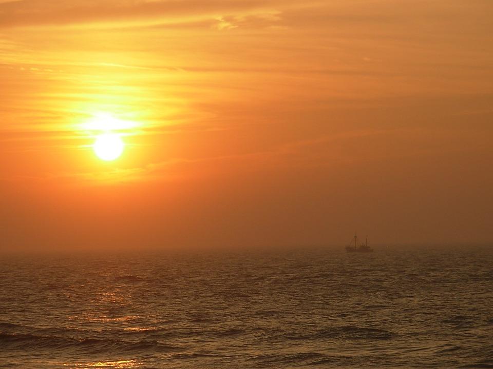 Sunset, Boat, Sea, Sun, Oostende, Orange, Yellow
