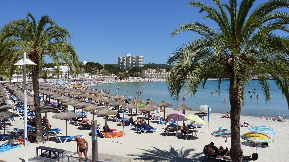 Summer, Sun, Beach, Peguera, Vacations, Palm, Parasol