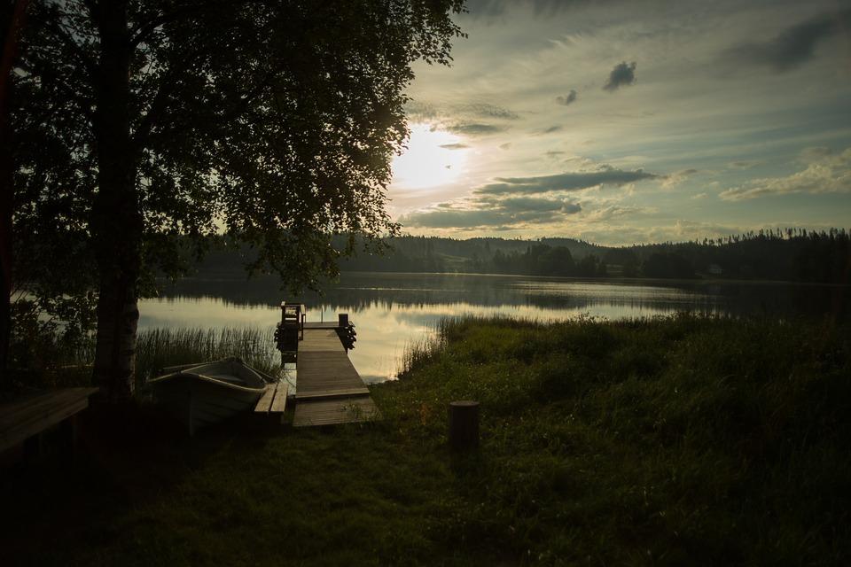 Pier, Lake, Beach, Sunset, Sun, Lake In Finland
