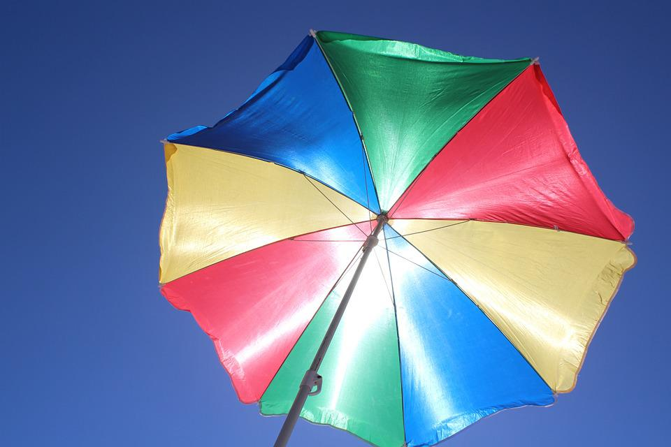 Parasol, Sun Protection, Blue Sky, Color, Holiday