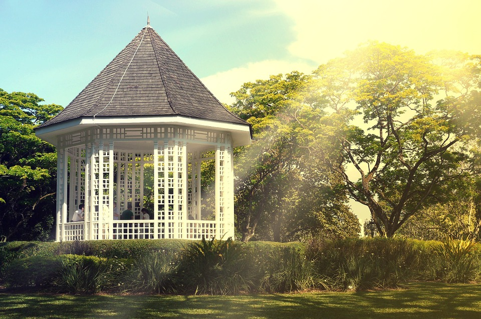 Gazebo, Sunshine, Sun Rays, Trees, Shrubs, Bushes