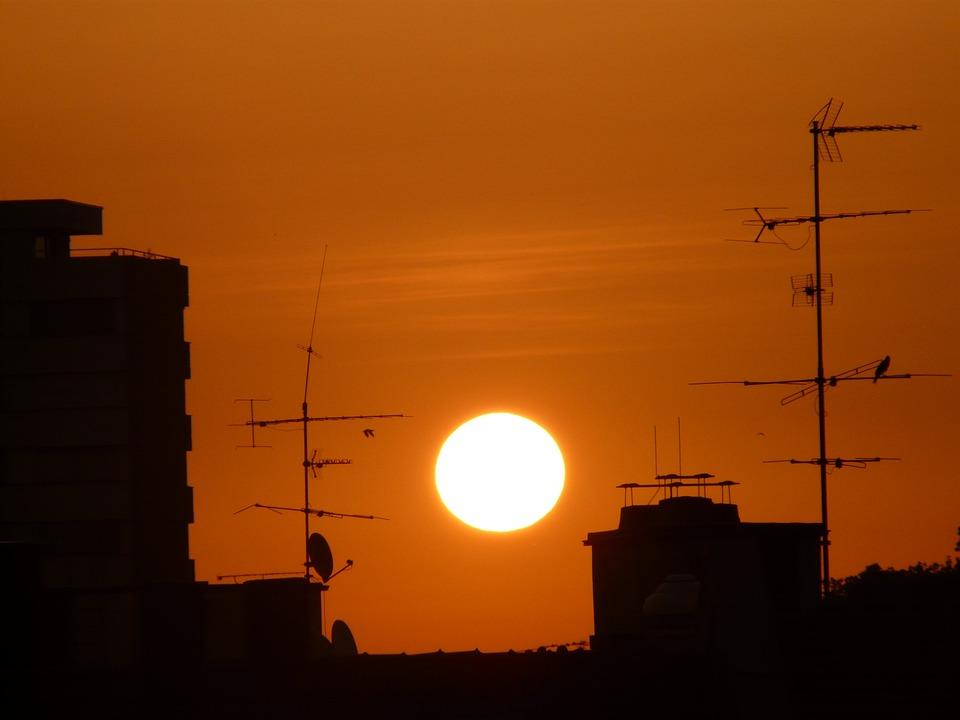 Sunset, Sun, Red, Sky, Glow, Building, Abendstimmung