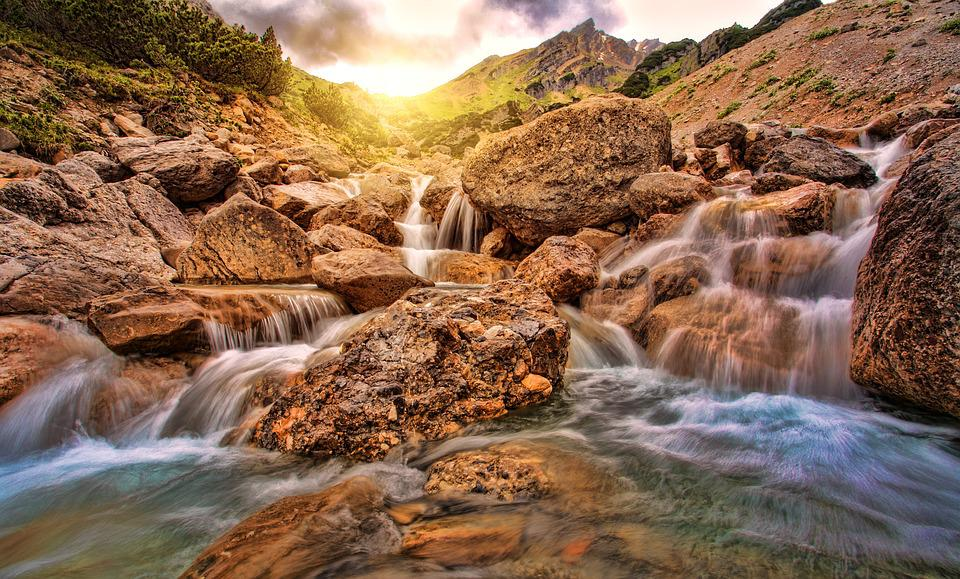 Waters, Nature, River, Waterfall, Rock, Alpine, Sun