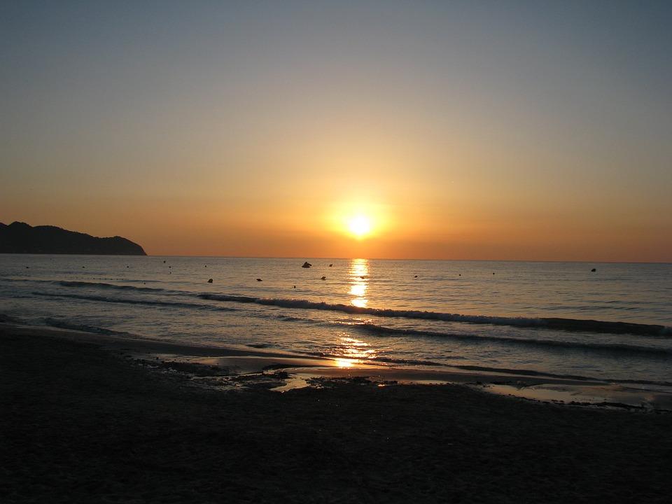 Sunrise, Sun, Sea, Beach, Sand, Wave