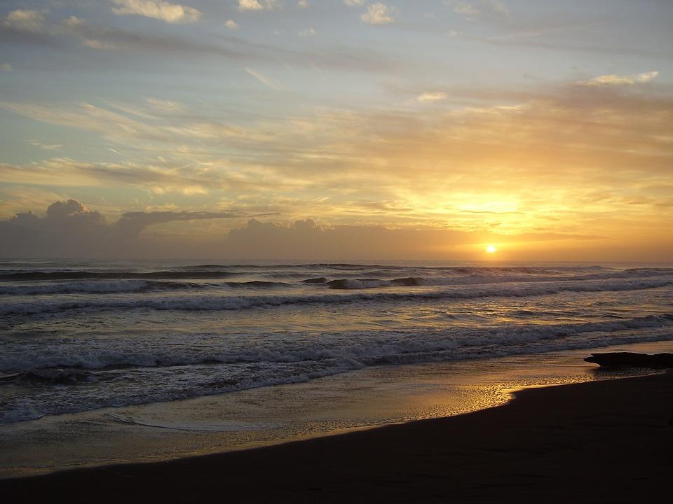 Landscape, Sun, Setting Sun, Beach