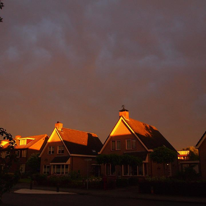 Sun, Houses, Rain Shower, Imminent, Street, Village