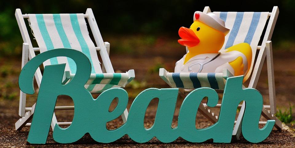 Sun Loungers, Beach, Font, Rubber Duck, Summer, Sun