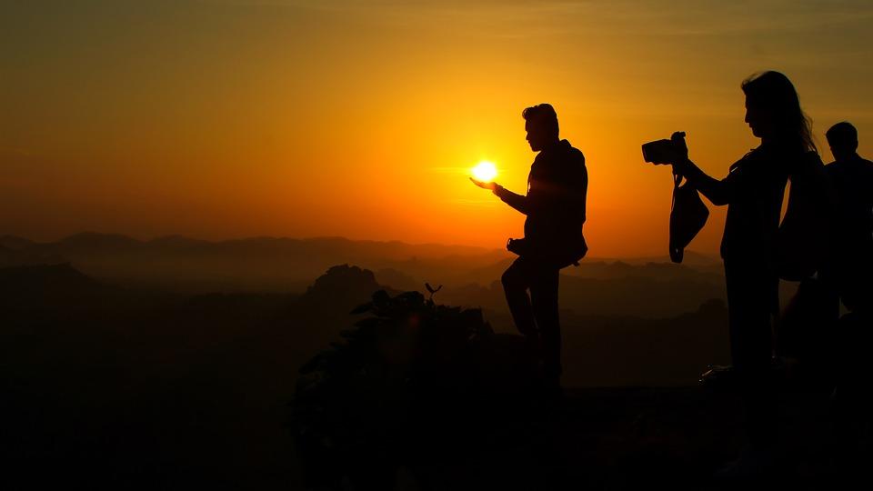 Dawn, Man, Person, Silhouette, Sky, Sun, Sunlight