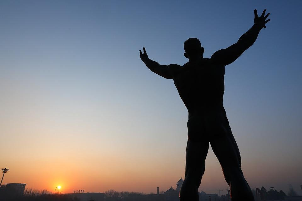 Statue, Sunrise, Figure, Hugs, The Future, Sun, Morning