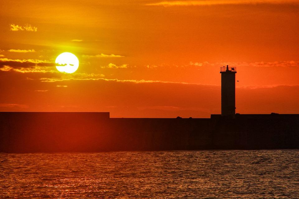 Sunrise, Lighthouse, Port, Sun, Silhouette, Cloud