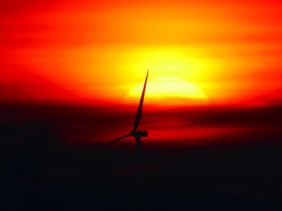 Sun, Sunset, Pinwheel, Wing, Back Light, Abendstimmung