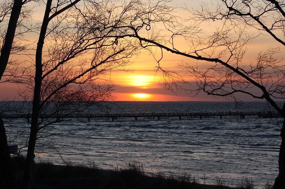Sunset, Beach, Evening Sky, Sun, Clouds, Lubmin