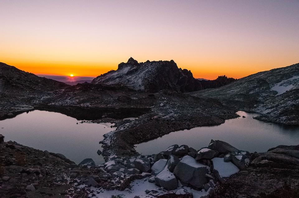Sunset, Mountain, Pond, Peak, Summit, Lake, Water, Sun