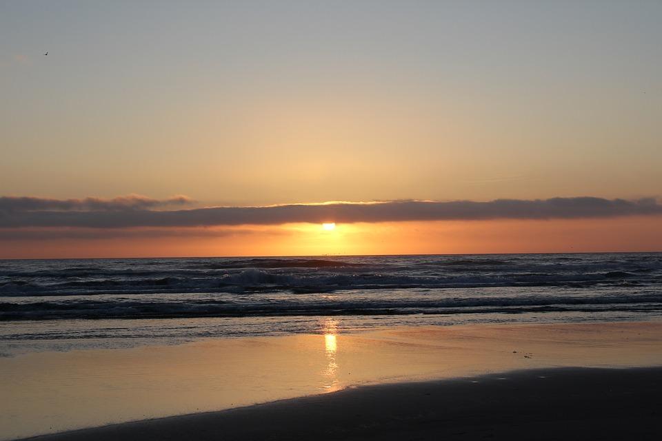 Sunset, Ocean, Coast, Sun, Sky, Water, Sea, Orange