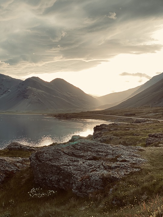Mountains, Lake, Pond, Sunset, Water, Sun, Sky