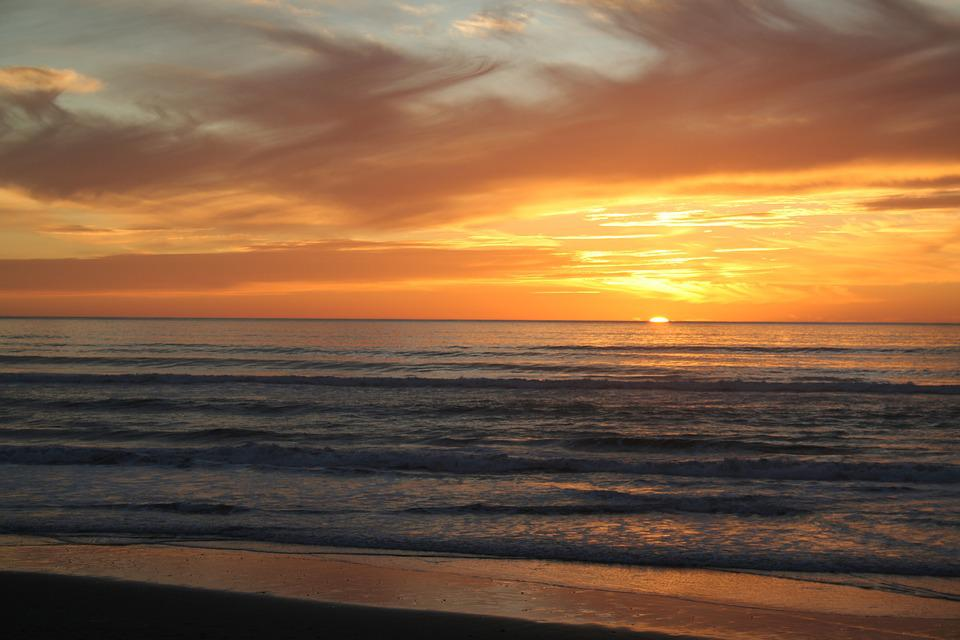 Sunset, Sea, Orange, Romantic, Twilight, Beach, Sun