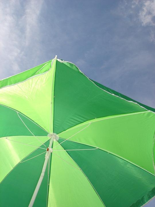 Sun Umbrella, Green, Holiday, Beach, Uv