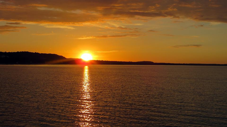 Sunset, Romantic, Golden, Water, Water Shine, Sun
