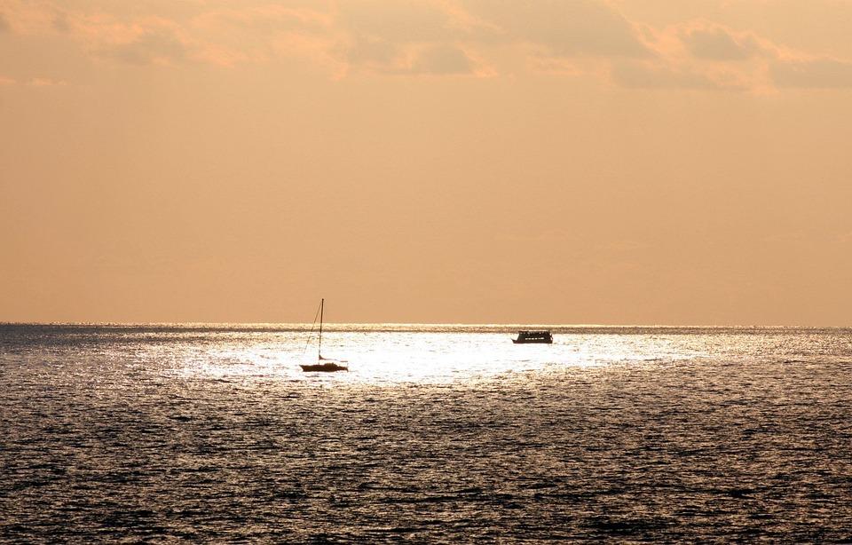 Boats, Fishing, Sea, Sun, Under, Ocean, Water, Sky