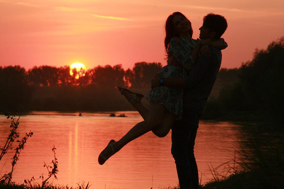 Couple, Love, Sunset, Water, Sun, Shadow, Romance