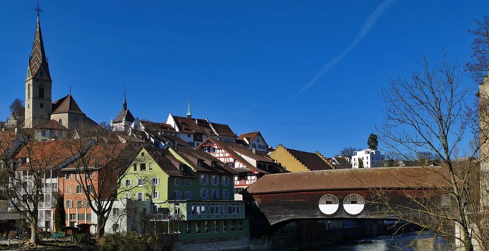 City, Swim, Switzerland, Sun, Wooden Bridge, Church