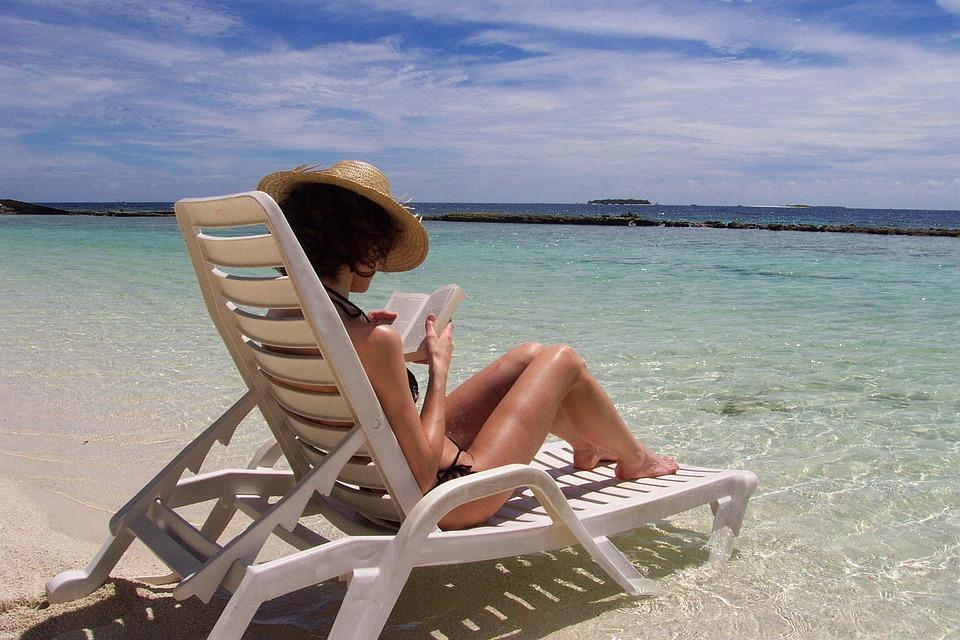 Maldives, Sea, Holiday, Woamn, Beach, Read, Sunbathig
