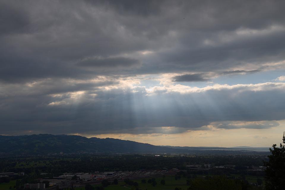 Sky, Clouds, Sunbeam, Rhine Valley