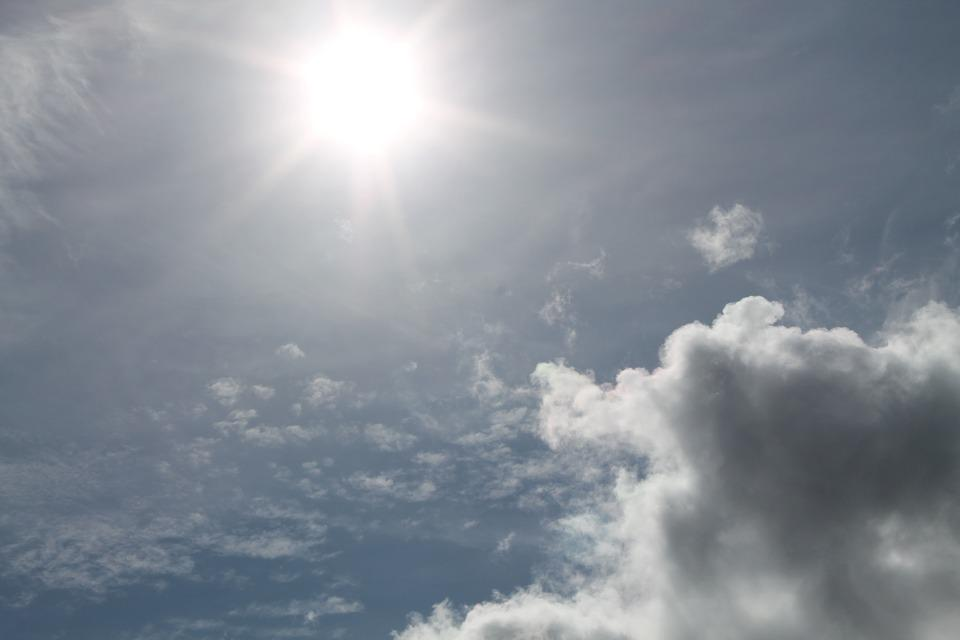 Sun, Clouds, Sky, Blue, Nature, Sunburst, White, Light