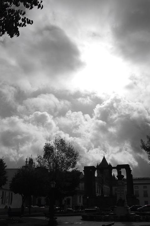 Clouds, Sunburst, Sky, Silhouette, Cloudy, Weather