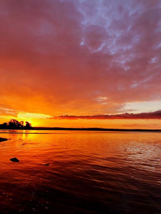 Sunset, Auckland, New Zealand, Golden Sky, Sundown