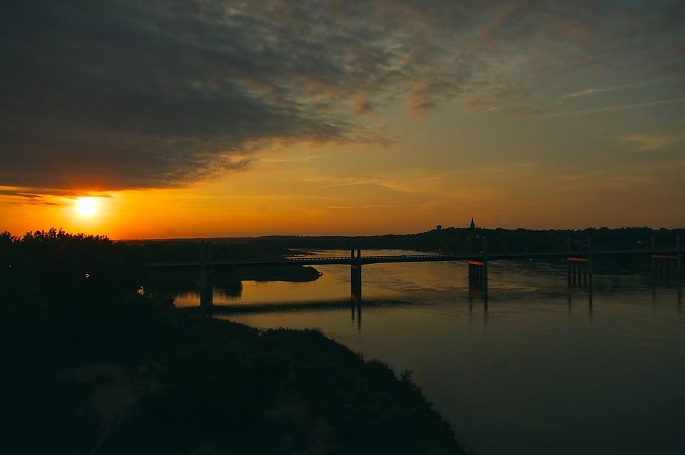 Sunset Over Missouri River, Sunset, Sundown, Sky, Dusk