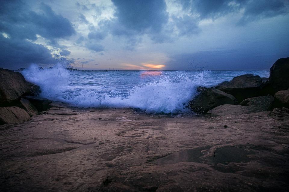 Sundown, Sunset, Beach, Sky, Evening, Water, Sea