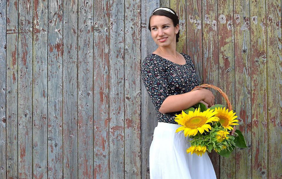 Sunflower, Flower, Young Woman, Basket, Summer, Lovely