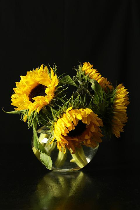 Sunflowers, Sunflowers In A Vase, Flowers