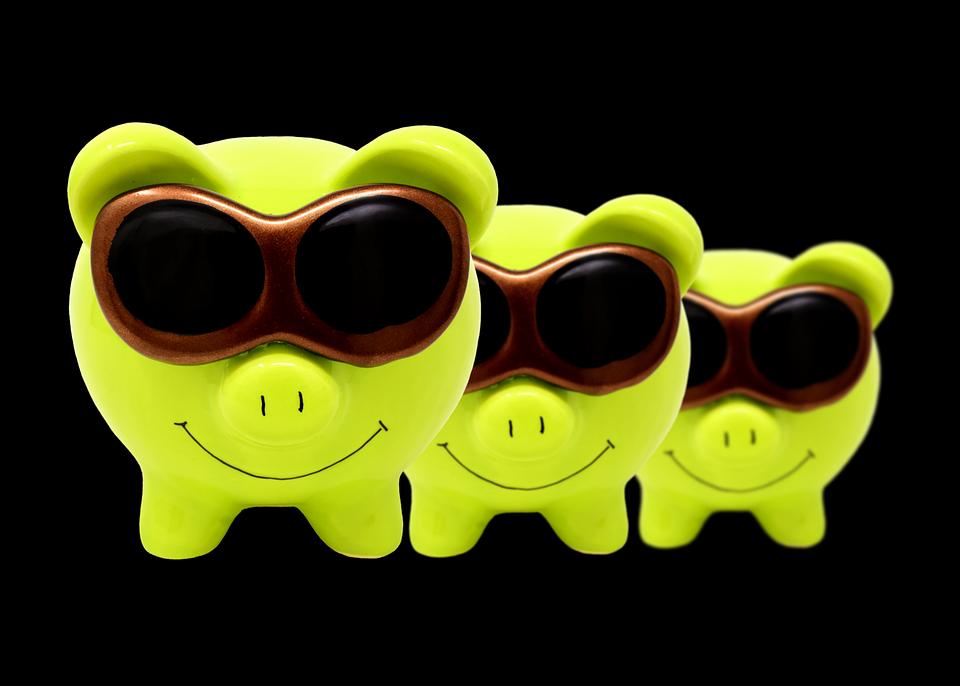 Piggy Bank, Sunglasses, Cool, Figure, Save, Ceramic