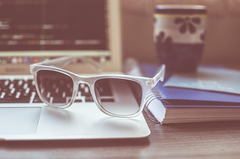 Sunglasses, Laptop, Notebook, Macbook, Vintage, Table