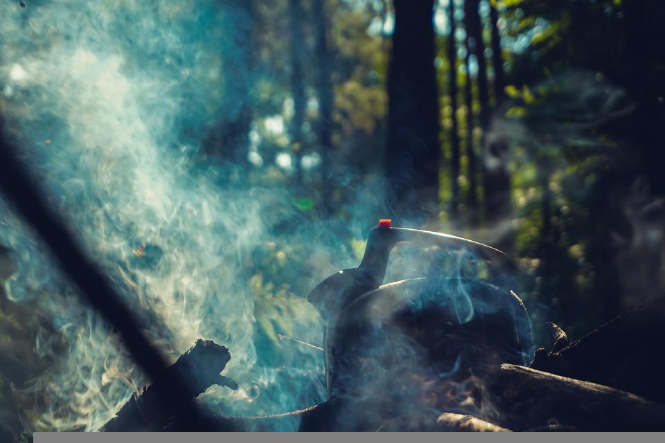 Smoke, Campfire, Kettle, Sunlight, Cooking, Camping