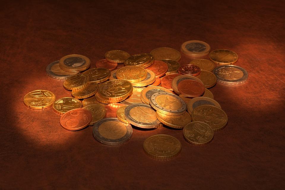 Coins, Euro, Specie, Metal, Light, Sunlight, Lighting