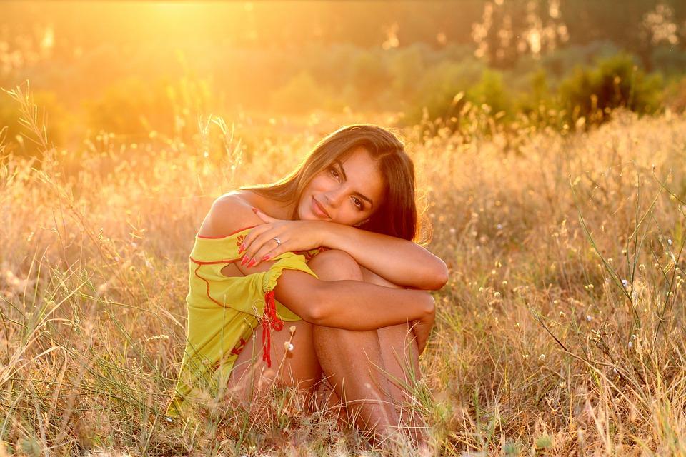 Woman, Grass, Sunset, Sunlight, Beautiful, Pretty