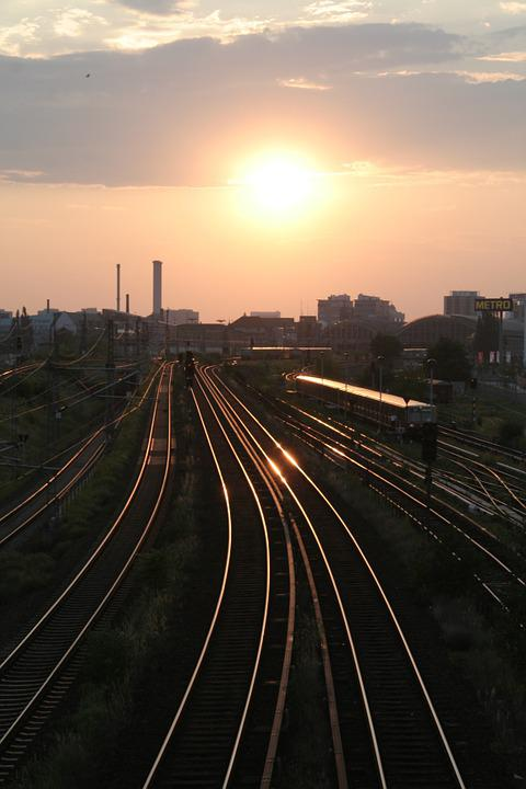 Gleise, Sunset, Seemed, Railway Line, Sunlight