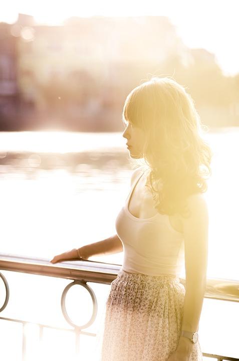 Woman, Sunset, Sunlight, Female, Model, Posing, Beauty