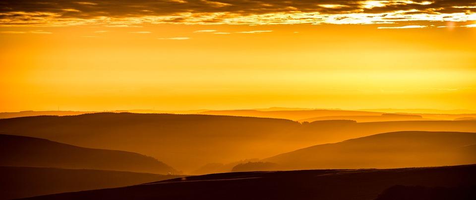 Mountains, Fog, Sunrise, Sunset, Sunlight, Silhouette