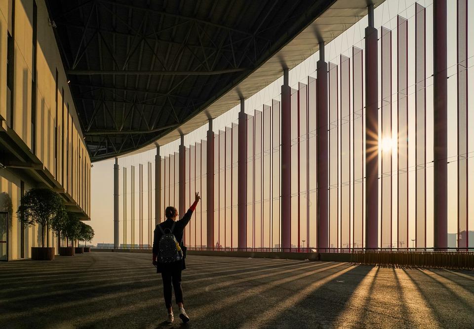 Woman, Building, Sunlight