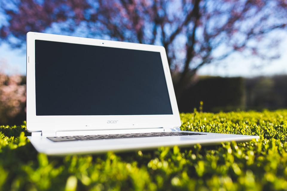 Laptop, Grass, Sunny, Computer, White, Technology