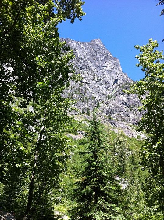 Mountain, Trees, Cascades, Sunny, Scenic, Outdoor, Sky