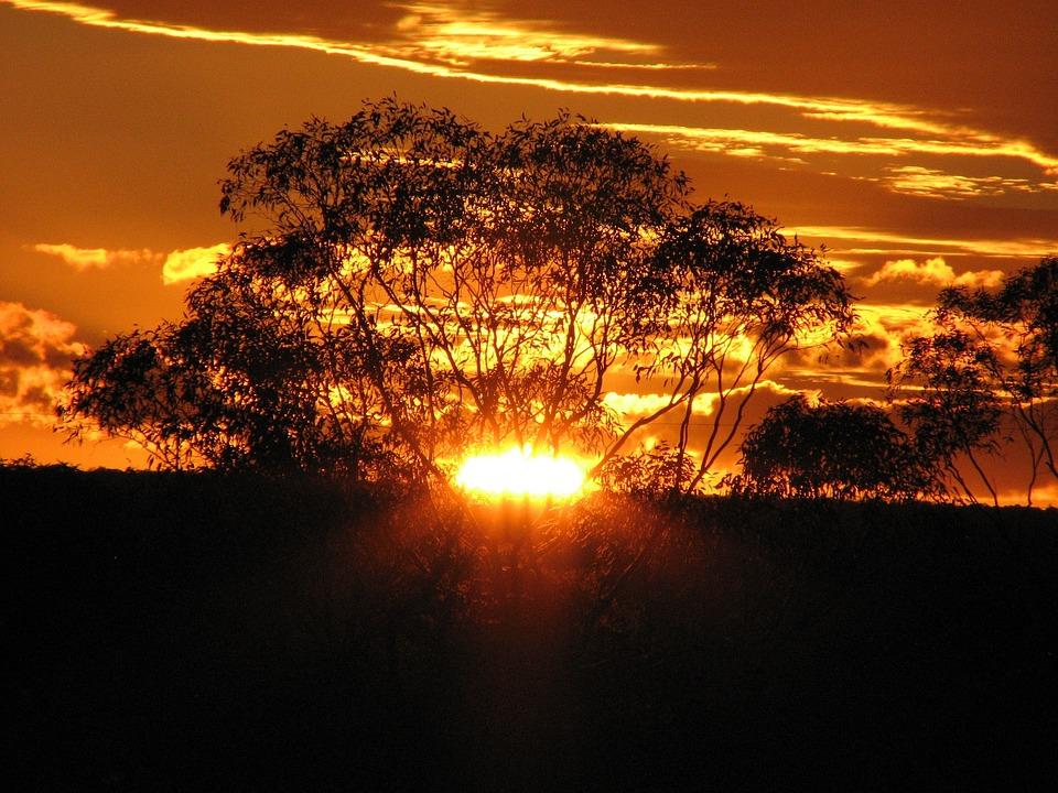 Golden Sunset, Clouds, Sky, Sunrays, Landscape
