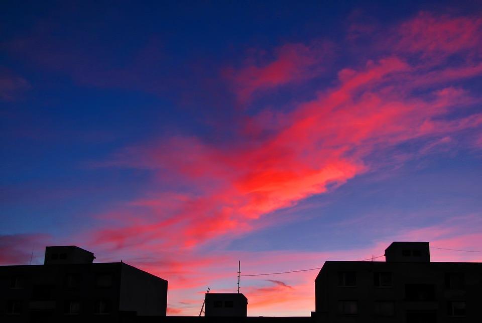 Roof Tops, Sunrise, Sky, Cloud, Clouds, Cloudscape