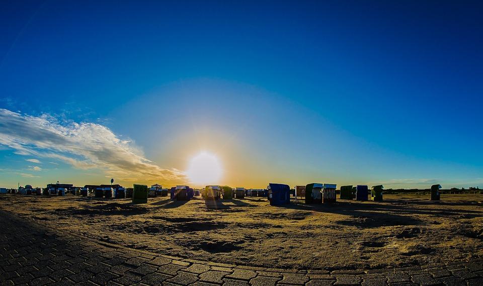 Sunrise, Sunset, Clubs, Sand, Beach, North Sea, Coast