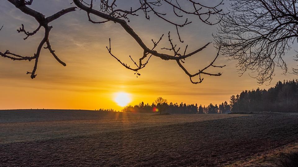 Landscape, Sunrise, Sky, Field